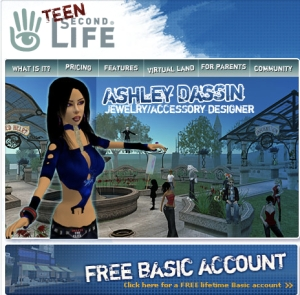 teen second life homepage ca 2006