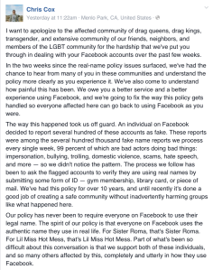 chris cox product manager at fb apologizes
