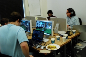working at BAVC [in the back row facing = Asri Falcone and Drax]