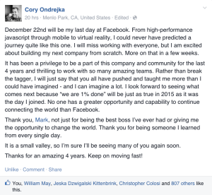 cory leaves FB