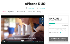 ophone duo did not make it on indiegogo