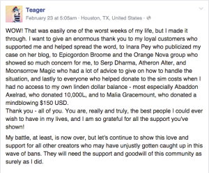 teager on fb thanks supporters