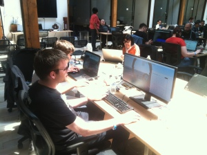 thoys working at the hackathon